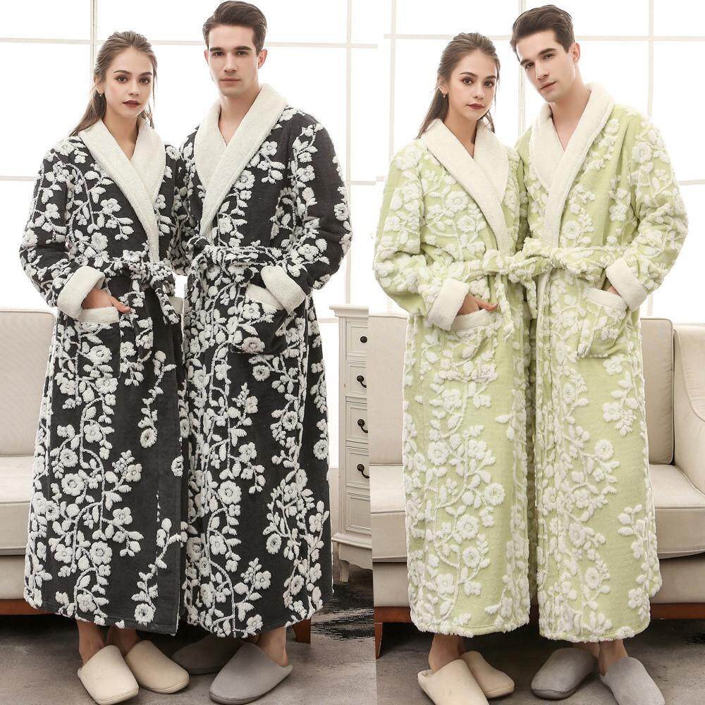3ec7c574a3 Lingerie Sleep Robes Unisex Winter Lengthened Coralline Plush Shawl Bathrobe  Long Sleeved Robe Coat