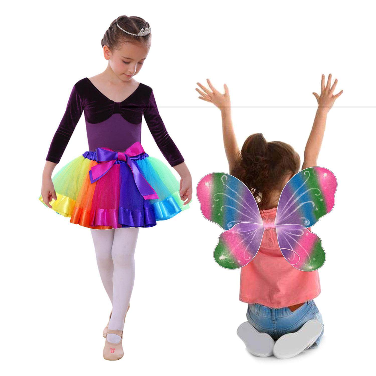 22a090434 2pcs Kids Girls Rainbow Butterfly Wings Sweet Tutu Ballet Dance Skirts Costume  Dress for Birthday Party