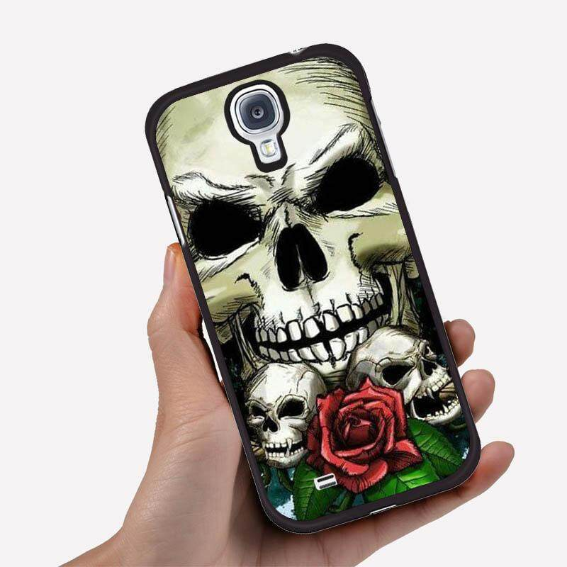 Phone Case For Samsung Galaxy S3 With One Big Skull And Two Little Skull One Red Rose Image Pattern Plastic Cartoon Plastic Anti-Knock Phonecase Cover