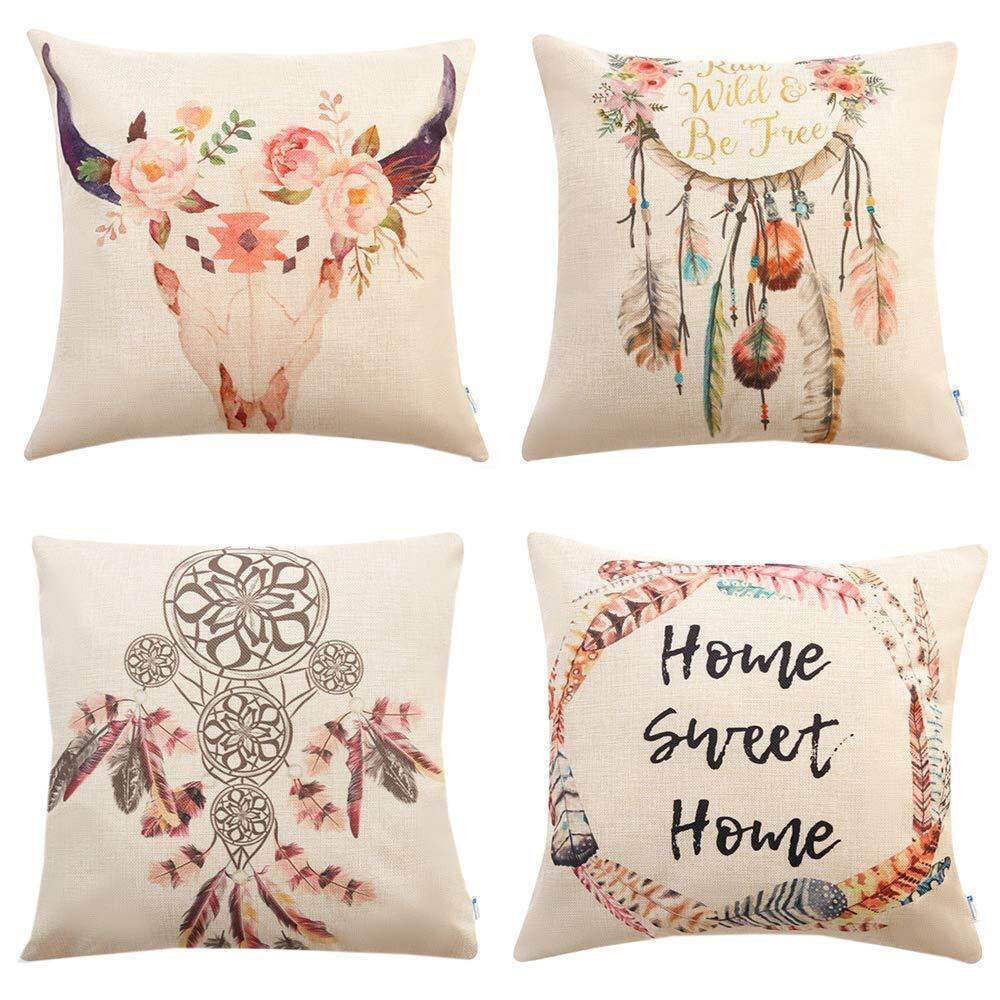 Set of 4 Bohemian Style Decorative Throw Pillow Covers 18 x 18 Inch for  Sofa Couch d7024b5cd8