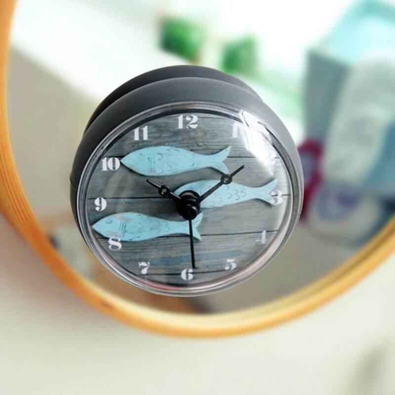 European Retro 3 Fishes Pattern Design Waterproof Shower Wall Mini Watch Suction Cup Batteries Modern Clock For Kitchen Bathroom