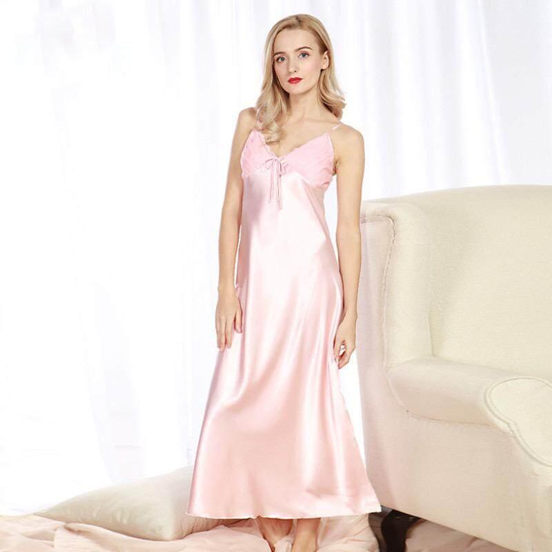 01797159b82 PHOEBE Women s Spring and Summer Imitation Silk Pajamas Long Split Sexy  Sling Nightdress - intl