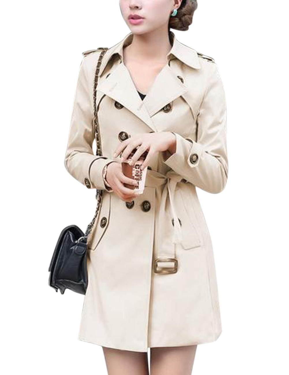 4bdb311edf567 Woman Lady s Windbreaker Coat Stylish Double-breasted Belt Slim Jacket  Large Size