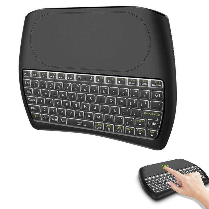 Aolvo D8 Pro Backlit Mini Wireless Keyboard, Rechargable & Multi-Media Handheld Remote for PC/Google Android TV Box and More
