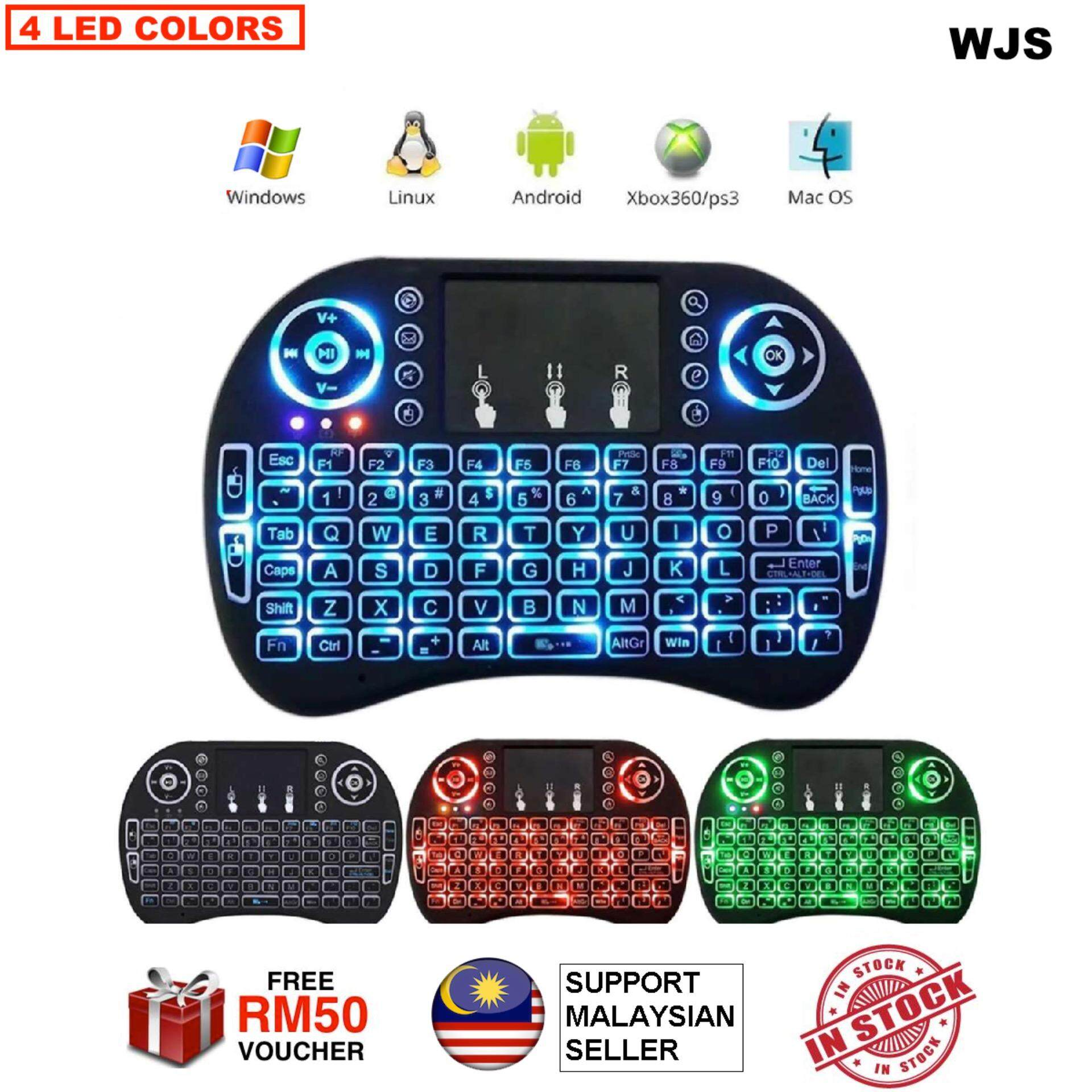 (FREE KEYBOARD BATTERY) WJS I8 Mini 2.4Ghz Wireless Touchpad Keyboard With Mouse For Pc, Tablets, Xbox, Playstation, Google Android Tv Box, Htpc, Iptv (Black) Malaysia