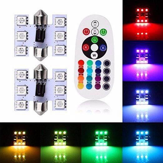 SA YANYI 39mm 6 SMD Colorful 5050 RGB LED Festoon Bulbs Lamp Car Interior Light with Remote Control