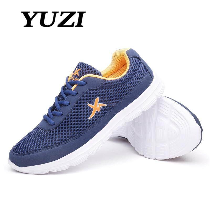 Yuzi Sepatu Lari Jala Ringan Pria Baru, Sepatu Olahraga Atletik Pria Sepatu Bernapas Nyaman Ukuran