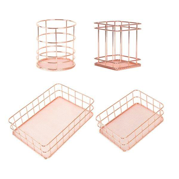 4pcs Nordic Style Rose Gold Metal Iron Storage Pen Container Tray Basket Holder Desktop Stationery Organizer