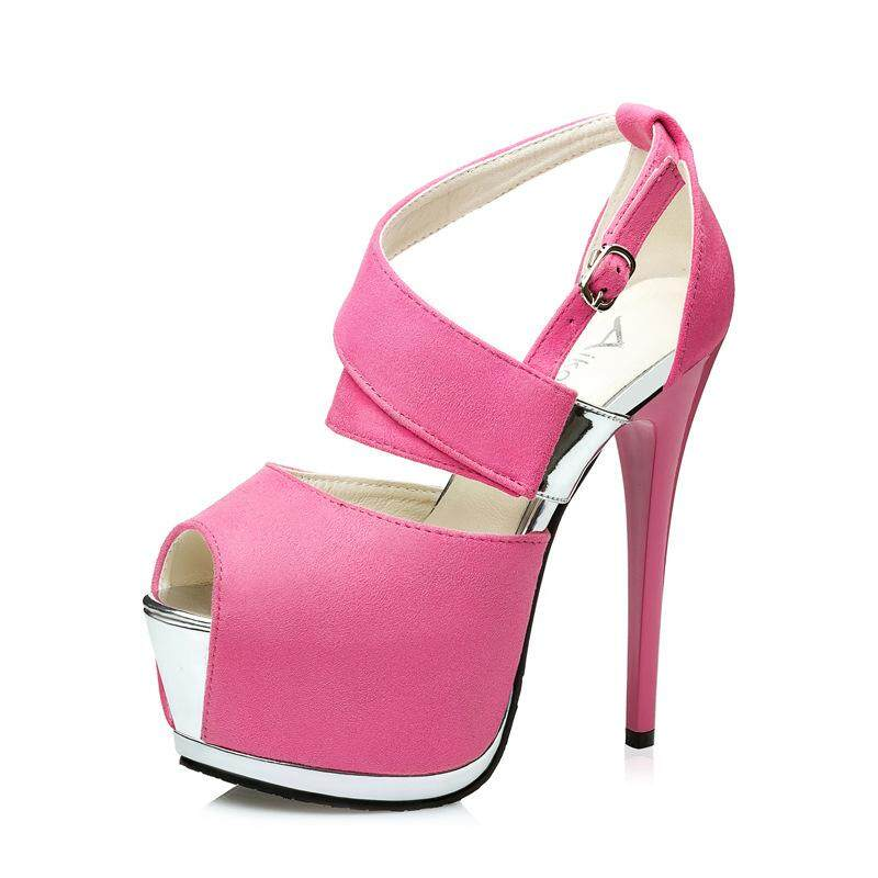 7eb09b88980b0 Sexy Women High Heel Sandals Flock Cloth Thin Heel Platform Shoes Nightclub  Woman Peep Toe Super