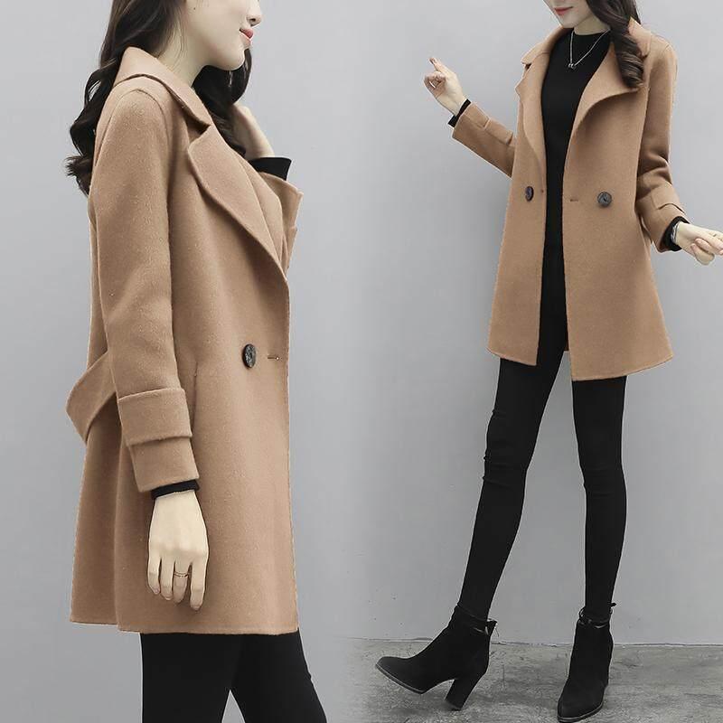 Jaket Parka Korea Fashion Style Wol Hitam Wanita