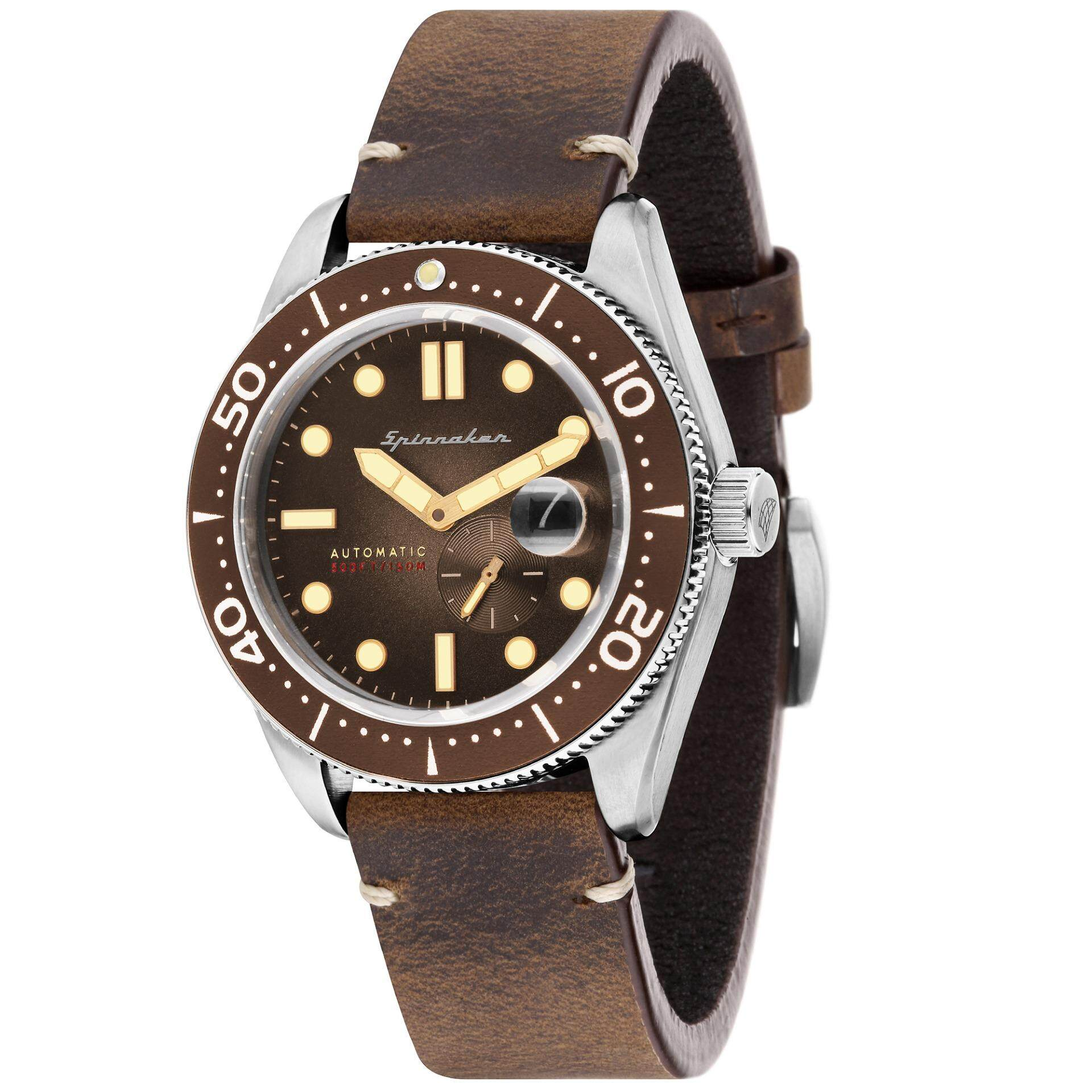 5142ee95ec9 Spinnaker CROFT SP-5058-02 Men s Brown Genuine Leather Strap Watch