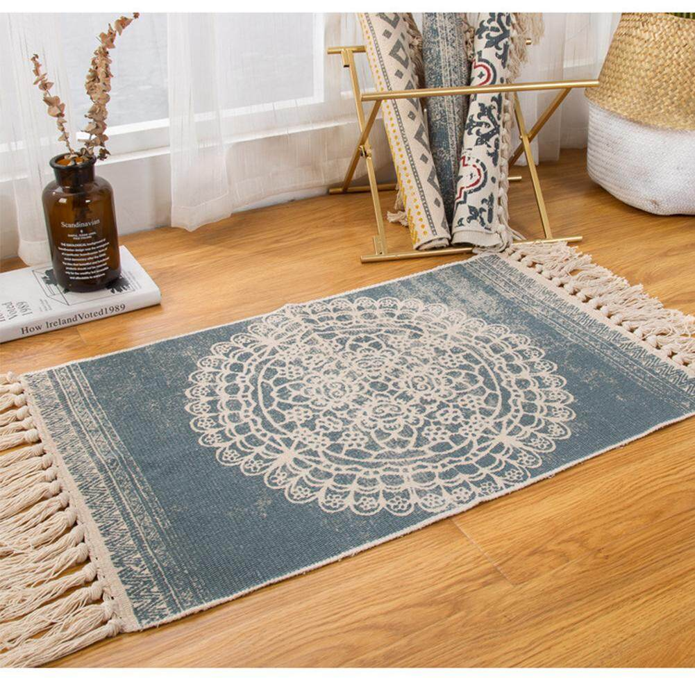 KEJARYHemp Cotton Bohemian American Style Carpet Mat Living Room Bedroom Bedside Mat Retro Celebrity Tassel Blanket