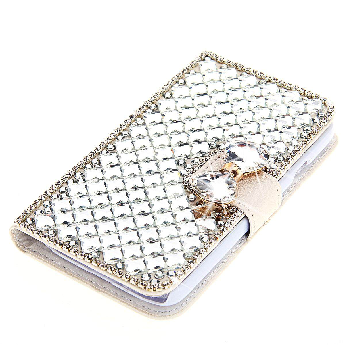 Case for 3D Luxury Bling Rhinestones Diamonds Bow Bone PU Leather Flip Case Cover Wallet with Card Holders for Alcatel U5 3G (5.0 inch) - intl