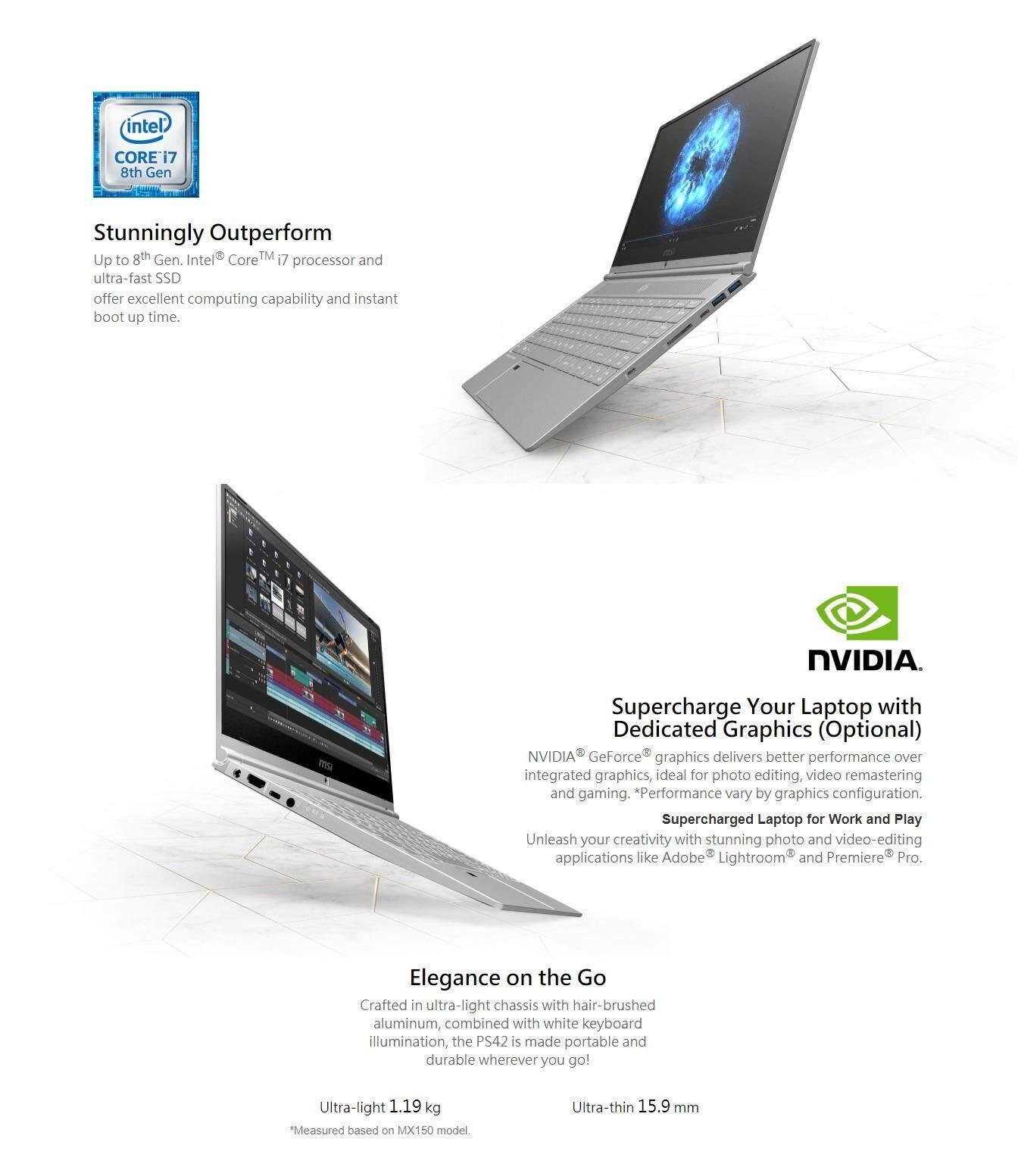 MSI Prestige PS42 8RB-431MY 14' Laptop (i7-8550U/MX150/16GB/256GB/W10) -  Silver