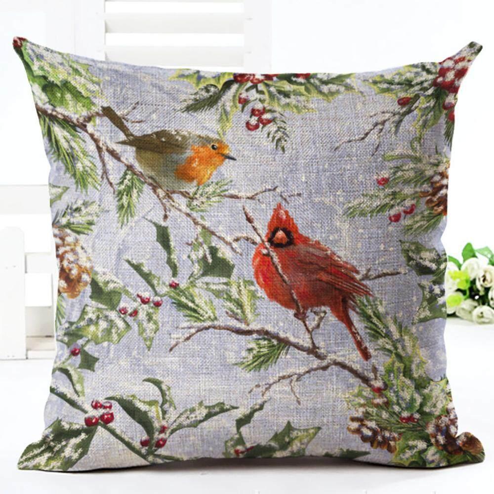 Burung Salju Sarung Bantal Syal Dekoratif Sarung Bantal Covers Set Linen Square Sarung Bantal Sofa Katun