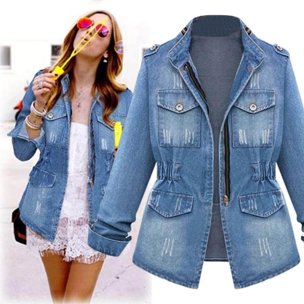 a9691c70b42 CNB2C Winter Coat Plus Size Casual Womens Ladies Denim Oversize Jeans Chain  Jacket pocket Coat