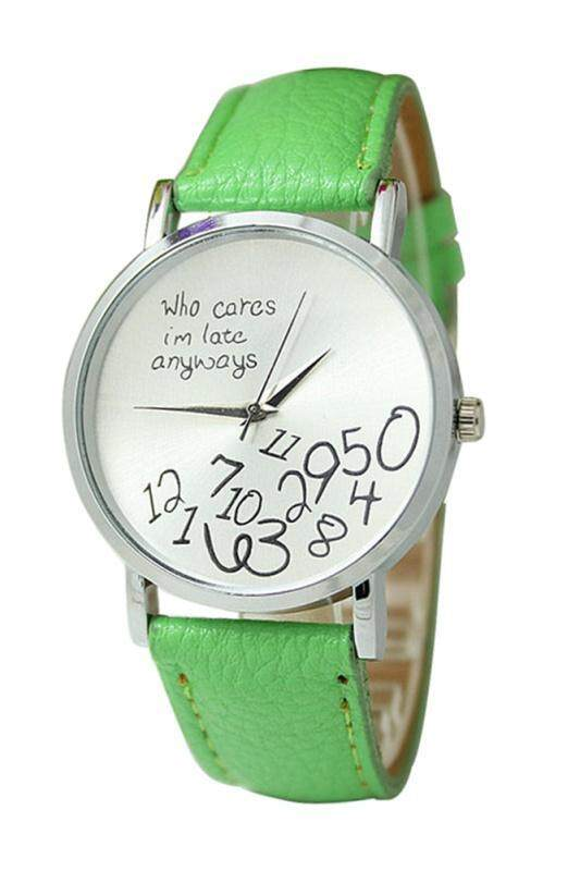 Arab numerals Leatherlet watches Quartz Analogue, Rosa, Unisex Watches, light green Malaysia