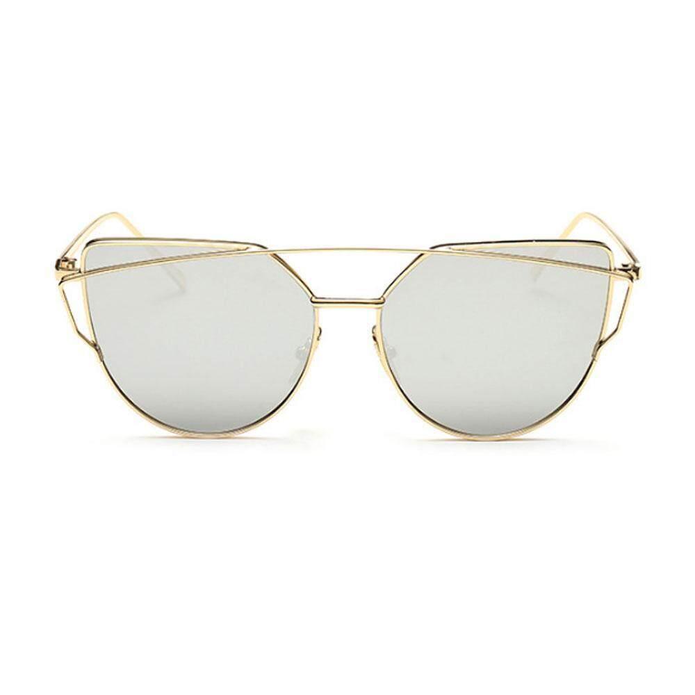 Huazhong Kacamata Hitam untuk Wanita, Niceeshop Kucing Mata Lensa Datar Cermin Klasik Bingkai Logam Kacamata Hitam UV400, gold Transparan-Internasional