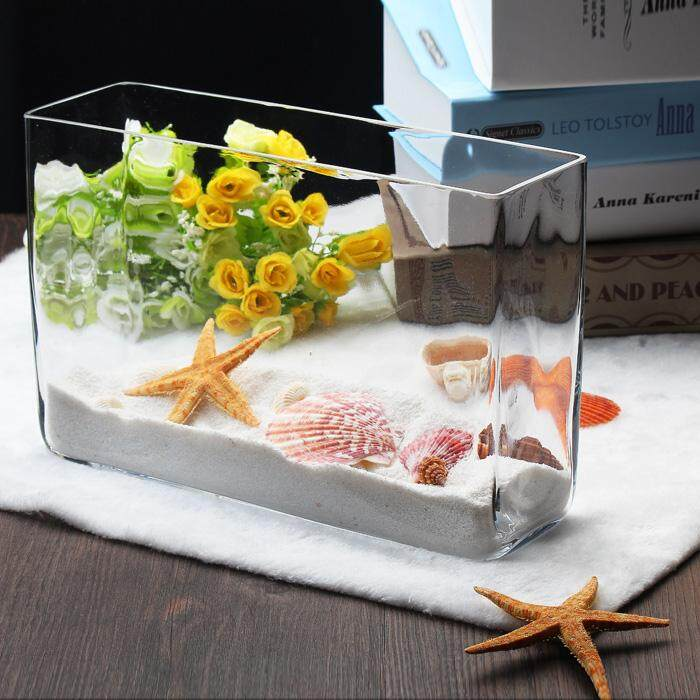 Goldfish Fish Tank Transparent Vase Small Water Cluster Box Grow in Water Container Living Room Rectangular Glass Fish Tank Flower Arrangement Vase