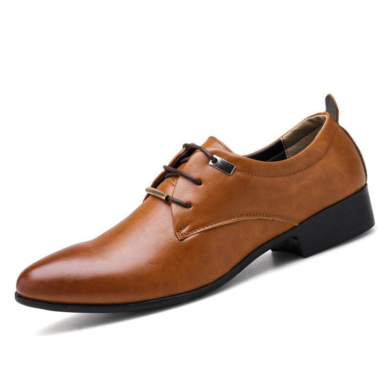 Business Dress Shoes Formal Oxford Wedding Pointy Shoes (brown) By Taishanzhishi.