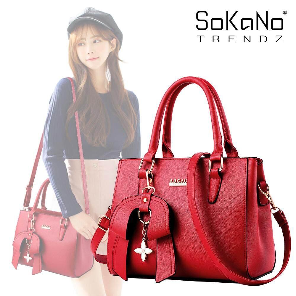 SoKaNo Trendz SKN850 PU Leather Sling Bag Tote Bag Handbeg Wanita with Flower Charm