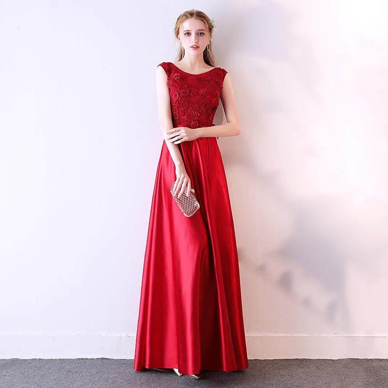 afab2161a China. Dress for Toast Bride 2019 New Style Slimming Red Marriage Late  Formal Dress Long Spring Fashion
