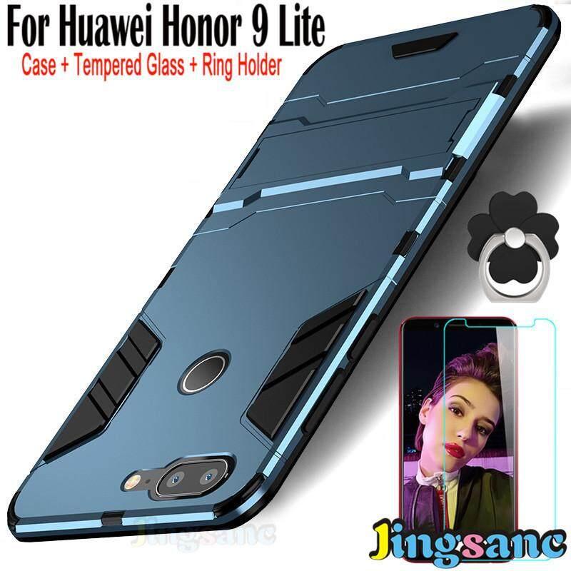 Untuk Huawei Honor 9 Lite [Casing Ponsel + Dudukan Cincin + Kaca Antigores] Hibrida 2 In1 Case Plastik Keras + Lembut silikon Tpu Pelindung Tahan Banting Bertekstur Casing Kover Matte PC Hard Case Phonecover untuk Huawei Honor 9 Lite-Intl