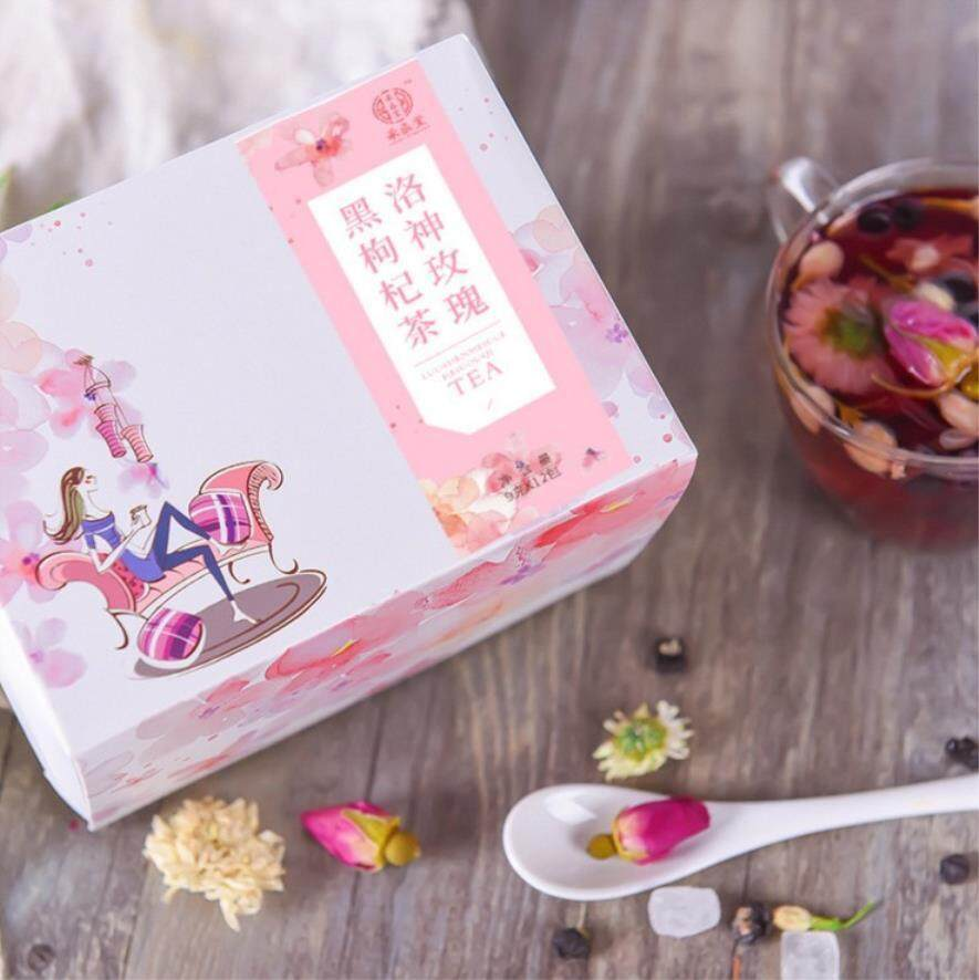 Hitam Wolfberry Roselle Tea Mawar Bunga Melati Tea Tas Tea-108g-Internasional