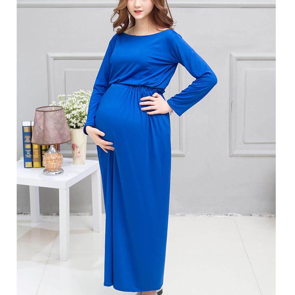 Magideal Wanita Elastis Pinggang Besar Maternity Gaun Foto Alat Peraga Biru-Internasional