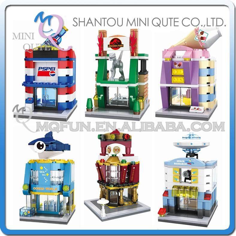 6pcs Mini Qute HSANHE Ice Cream Sea World Casino UFO Institution Architecture plastic building block model brick educational toy