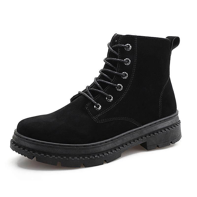 ผู้ชายบูทเฟอร์ข้อเท้าฤดูหนาวฤดูใบไม้ร่วงฤดูหนาวฤดูใบไม้ร่วงรองเท้าแตะเพิ่มความอบอุ่นลูกไม้รองเท้าบูท Martin รองเท้า By Asia Online Supermarket.