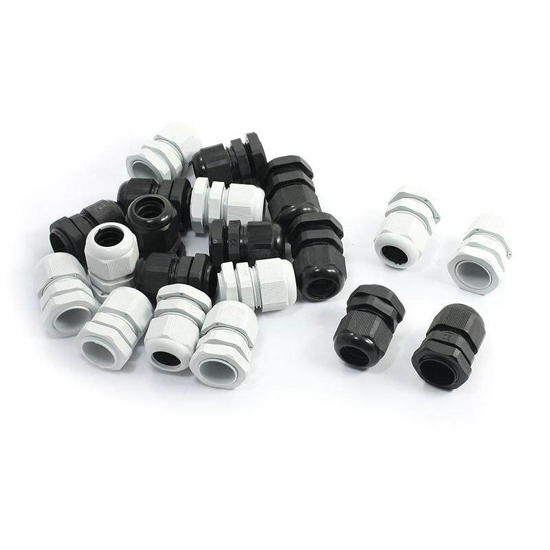 20pcs Waterproof Cable Range PG16 10-14mm Cables Gland Black White
