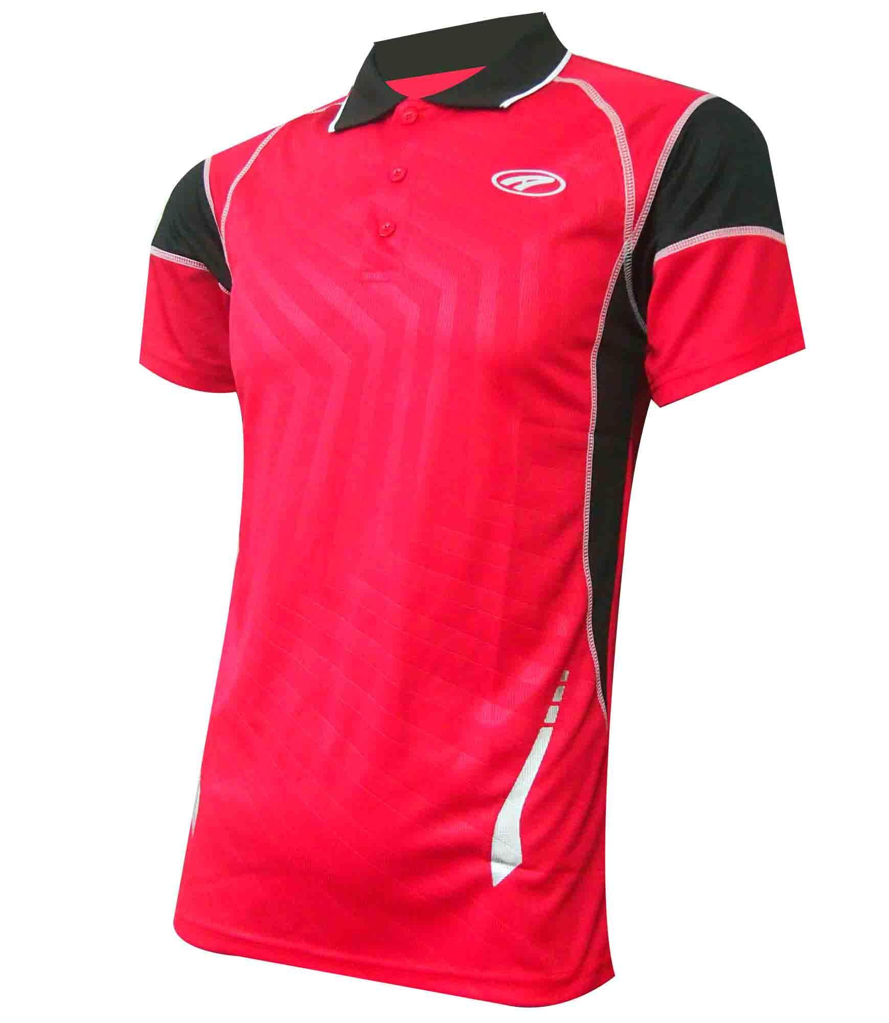 Ambros Polo Collar Jersey for Men - Red/Black