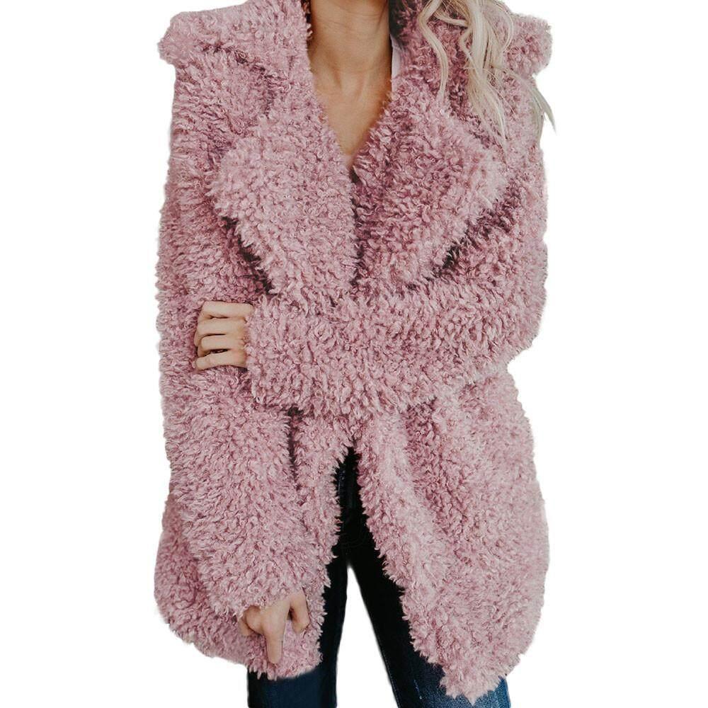 CNB2C Mantel Bergaya Korea Wanita Hangat Buatan Jaket Mantel Wol Kerah Pakaian Musim Salju