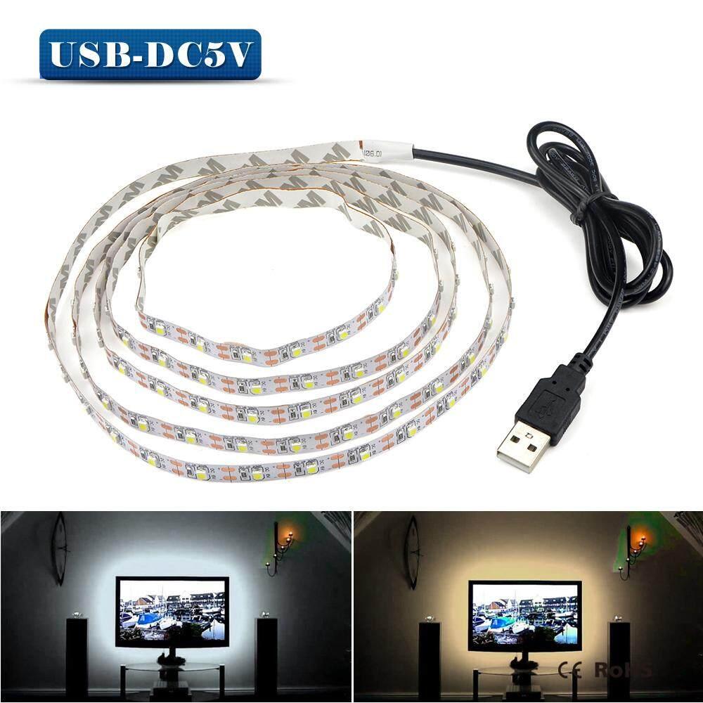 Hình ảnh 1 meter 5V USB Cable Power LED strip light lamp SMD 3528 Christmas desk Decor lamp tape For TV Background Lighting(white)