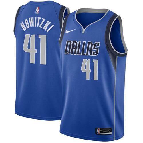 Nike อย่างเป็นทางการผู้ชาย Dallas Mavericks Dirk Nowitzki 41 Royal Swingman เสื้อบาสเกตบอล - ไอคอน Edition By Saljqfue.