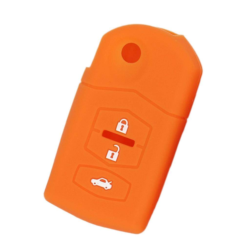 Miracle Shining 3 Buttons Silicone Car Remote Key Cover Shell Fob For Mazda M2 M3 Orange