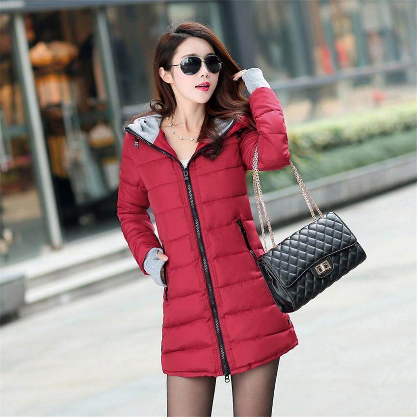 Fashion Womens Winter Long Warm Thin Down Coat Slim Ladies Jackets Parkas Outwear Female Jacket Cotton-Padded Clothing(wine Red) By Tangerine Sunflower Store.