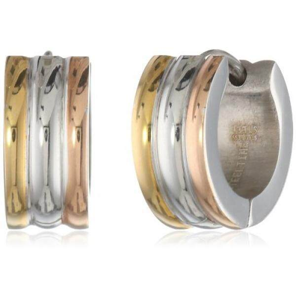 [From.USA]Stainless Steel Three Tone 18 Karat Gold and 18k Rose Gold Plated Huggies Earrings B00BSULNKW - intl