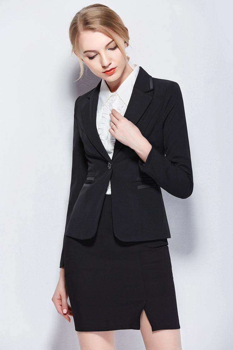 f384536726c 2 Piece Women OL Office Black Suit Coat Blazers   Skirt Business Ladies  Long Sleeve Short