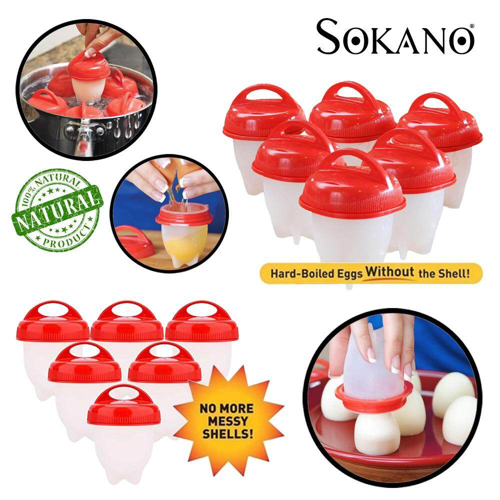 (RAYA 2019) SOKANO 6 pcs Non Stick Silicone Egg Boiler Eggies Cup Pod Inserts Egglettes Egg Cooker Cooking Container Mold Mould - Hard Boil Eggs Boiled without Shell
