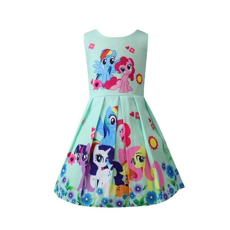 My little pony printed cartoon cotton summer dress baby girl dress 5275489bd527