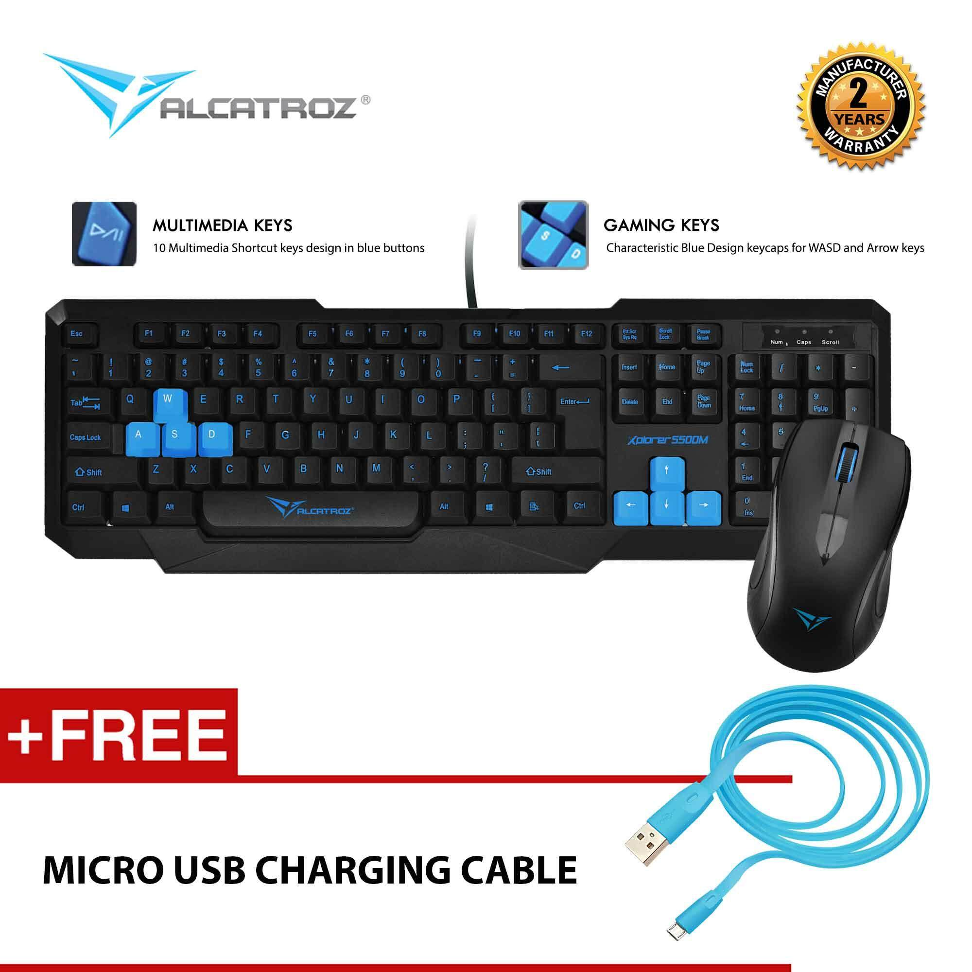 Xplorer 5500M USB Multimedia Keyboard Mouse Combo Free Micro USB Charging Cable By Alcatroz Malaysia