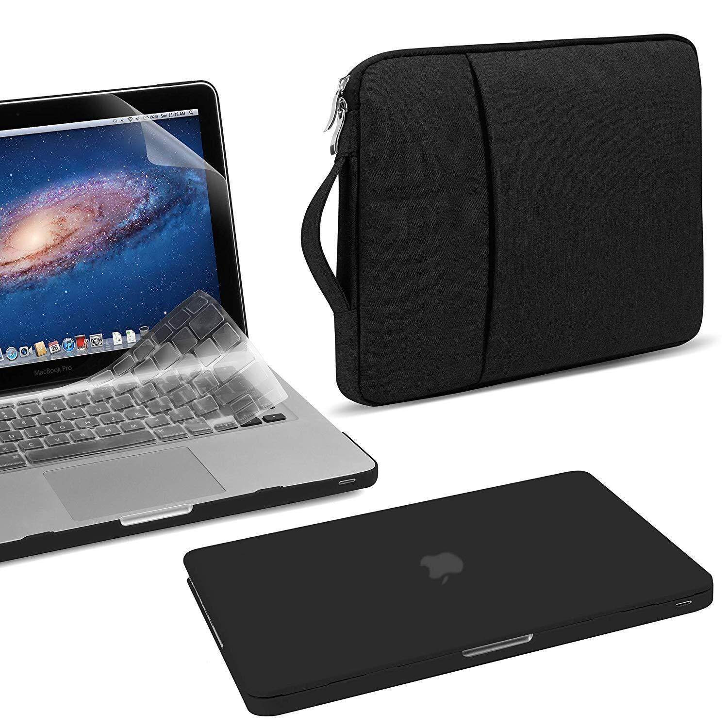 MacBook Pro 13inch  4in1 Bundle Matte Hard Plastic Case with Transparent Keyboard Cover, Clear Screen Protector & Water Repellent Laptop Sleeve for Old MacBook Pro 13 inch (A1278) Old - Black