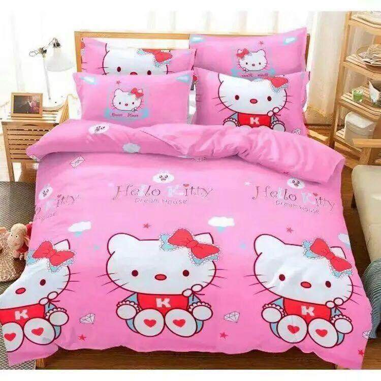 (Queen Size)5 in 1 Bed Sheet set Hello Kitty Love Cute Cartoon Design Fitted Bed Sheets  ( Fitted Sheet: 60cm x 80cm x 16cm )
