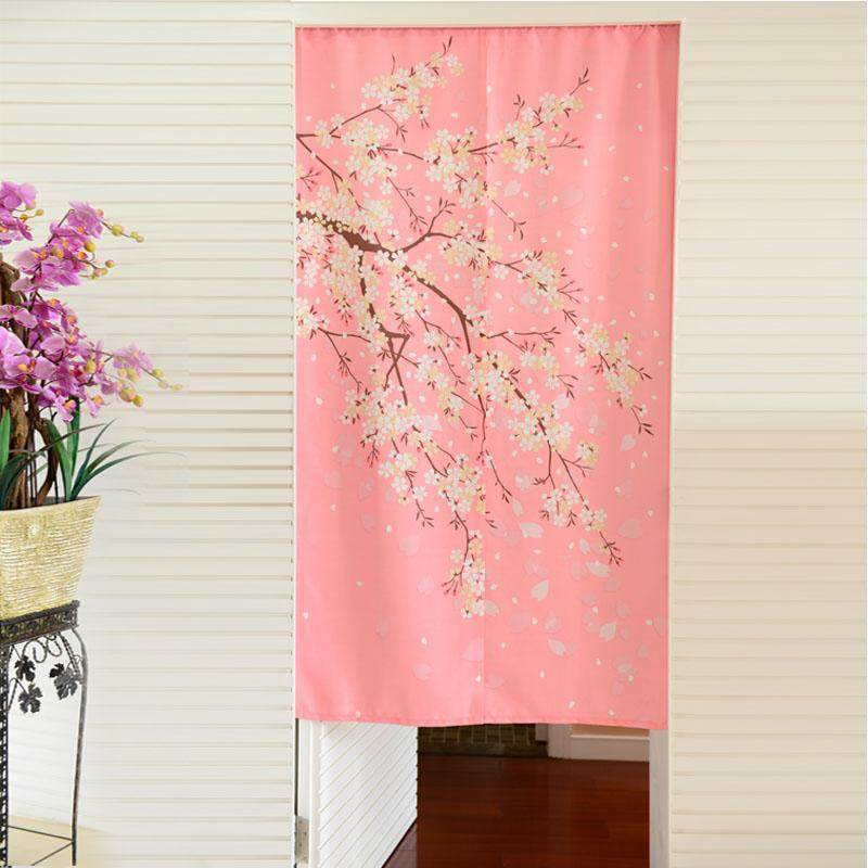 Fengyahetang Romantic Cherry Blossoms Send Rod Bedroom Feng Shui Door Curtain Fabric Partition Japanese Style Semi-Curtain