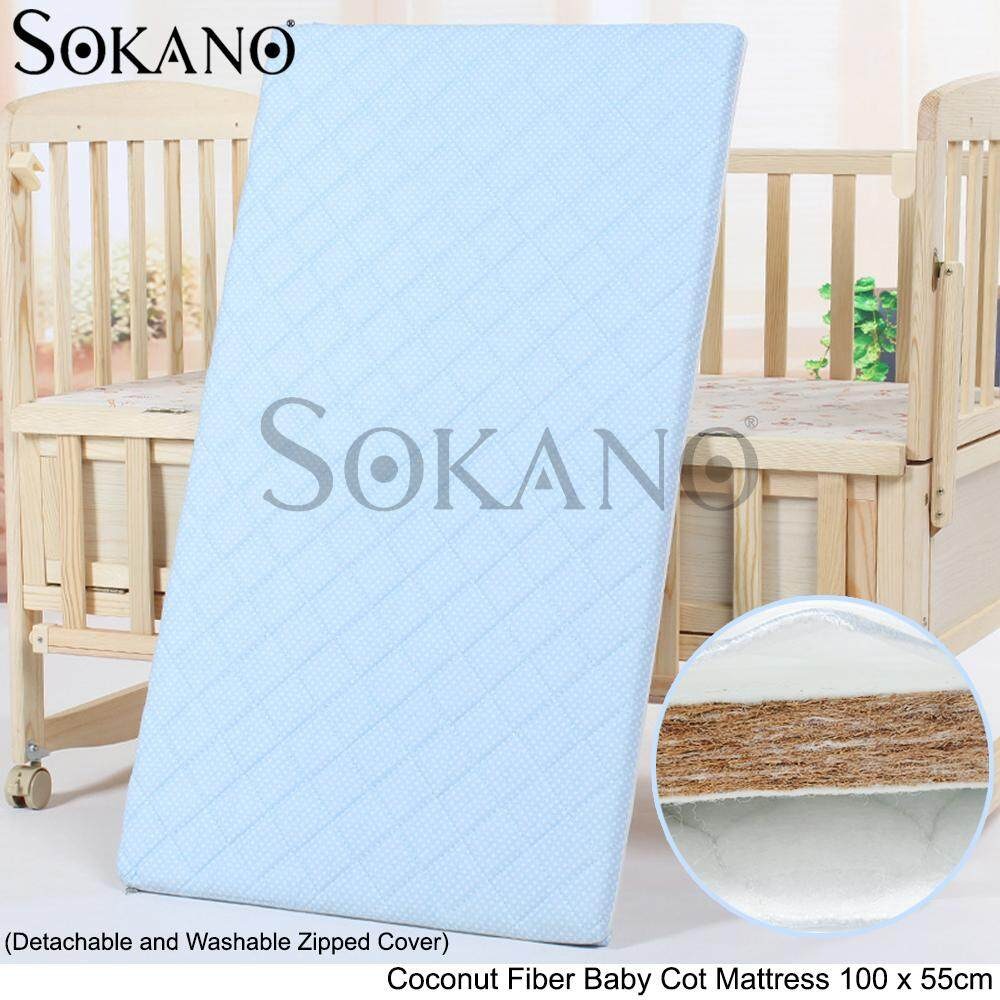 SOKANO Coconut Fiber Baby Cot Mattress 100 x 55cm (Detachable and Washable Zipped Cover)