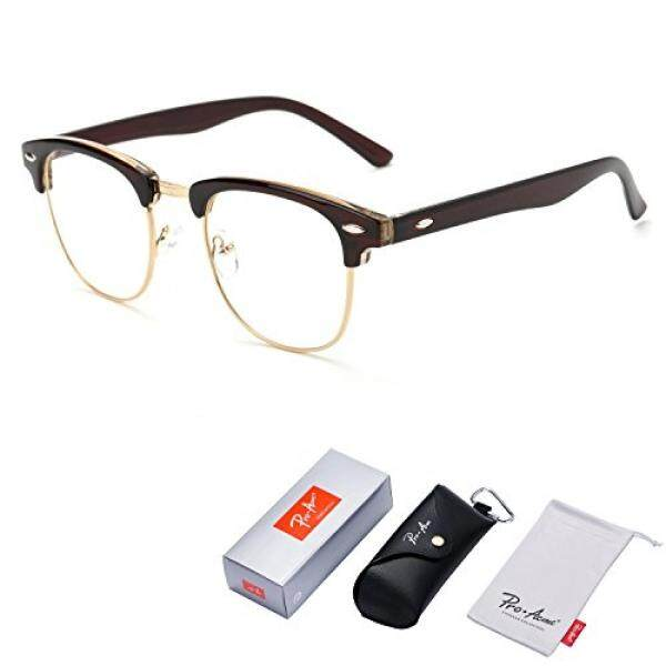 d2363ad8d2 Pro Acme Vintage Inspired Semi-Rimless Clubmaster Clear Lens Glasses Frame  Horn Rimmed (Brown
