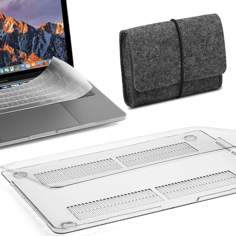 Macbook Pro 13 Case 2018 2017 2016 Rilis A1989/A1706/A1708 dengan/Tanpa Touch Bar 3 Dalam 1 Bundle Jelas See-Through Plastik Wadah dengan Penutup Papan Ketik & Merasa Kantong Penyimpanan Tas (2018/ 2017/2016 Rilis Model A1989/A1706/A1708)