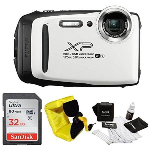 Gambar Baik Fujifilm XP130 Kasar Tahan Air WiFi Digital Camera (Putih) + Fokus Mengambang Strap & Sony 32 GB Bundel Kartu